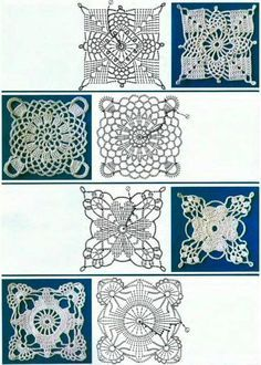 Crochet Square Motifs with charts .... lovely lacy patterns ! ༺✿ƬⱤღ  https://www.pinterest.com/teretegui/✿༻