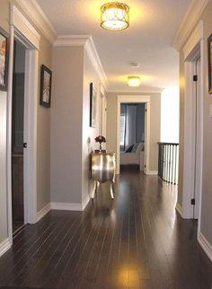 Benjamin Moore Revere Pewter walls w/ beautiful espresso wood flooring. Yes, I want.