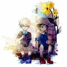 Katsuki, Izuku, cute, young, childhood, popsicle, straw hat, sunflower, flower; My Hero Academia