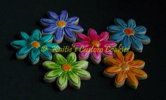 """3"""" Flower *Covered in royal icing then hand painted with edible food coloring"""