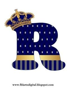 Alphabet with Golden Crown in Blue. - Oh my Alfabetos! Clipart Baby, Mickey Mouse, Mothers Of Boys, Prince Birthday, Alphabet Design, Monogram Alphabet, Flower Alphabet, Baby Shawer, Boss Baby
