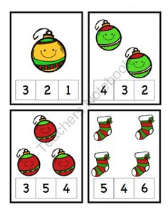 Preschool Printables: Christmas Theme Number Cards