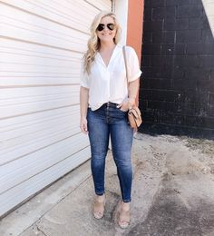 ShopStyle Look by cristincooper featuring Quay Australia x JLO The Playa Aviator Sunglasses and BP. Textured Stitch V-Neck Pullover Simple Outfits, Trendy Outfits, Fashion Outfits, Fashion Clothes, Mom Fashion, Nice Outfits, Spring Fashion Trends, Autumn Fashion Casual, Everyday Fashion