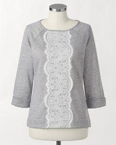 Lace front sweatshirt | Coldwater Creek