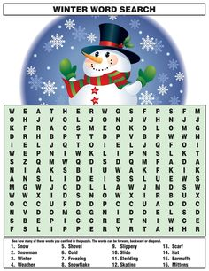 Winter Word Search - Best Coloring Pages For Kids Winter Word Search, Kids Word Search, Christmas Word Search, Christmas Words, Christmas Party Games, Christmas Crafts For Kids, Holiday Fun, Christmas Holidays, Christmas 2019