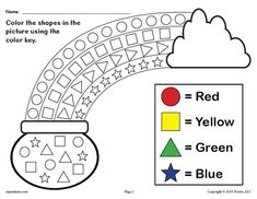 Patrick's Day themed shapes coloring worksheet is great for practicing shape recognition, color recognition, fine motor skills, and more with your preschoolers and kindergartners. Shapes Worksheets, Preschool Learning, Kindergarten Worksheets, In Kindergarten, Preschool Activities, Coloring Worksheets, Teaching, St Patricks Day Crafts For Kids, St Patrick's Day Crafts