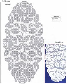 Rose filet crochet table cover chart. Very beautiful!