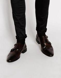 ASOS Zapatos de cuero con doble correa estilo mocasín Marrón #shoes #covetme
