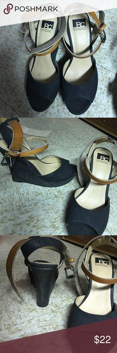 Black wedges sandals win brown ankle strap! Size 10 gently worn a few times Shoes Heels