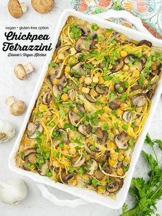 Vegan Chickpea Tetrazzini Casserole is a cozy comfort food dish that perfect for dinner in the cooler fall and winter months. It's made with pasta, mushrooms, and a sneakily healthy cauliflower cream. It's dairy-free with a gluten-free option. Vegan Potluck, Potluck Dishes, Vegetarian Recipes Dinner, Vegan Dinners, Vegan Recipes Easy, Food Dishes, Beef Recipes, Vegetarian Lunch, Savoury Dishes