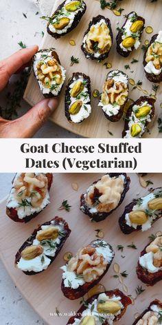 Savory Snacks, Healthy Appetizers, Healthy Snacks, Date Recipes Desserts, Healthy Dates Recipes, Recipes With Goat Cheese Appetizers, Appetizer Recipes, Mini Appetizers, Walnuts Nutrition