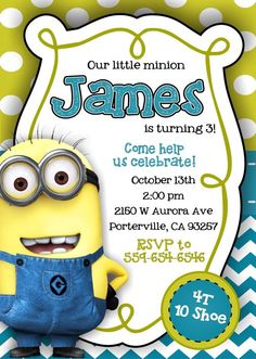 Despicable Me Minion Invitations by notyouraveragedad on Etsy