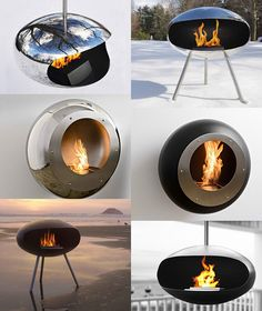 #Ecomonday MODERN DECORATIVE FIREPLACE IDEAS BY COCOON FIRES The designs look very modern and elegant, especially in the shiny stainless steel. Here are some gorgeous interiors that you could have using these fireplaces ... But may be most important is the fact that these eye-catching fires are running on biofuel.