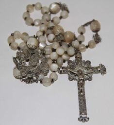 RO065 ROSARY. SILVER FILIGREE AND MOTHER-OF-PEARL. 58.5 CM. RO065 ROSARY. RO065 ROSARIO. RO065 CHAPELET. TECHNIQUE FILIGREE. SILVER FILIGREE AND MOTHER-OF-PEARL. | eBay!