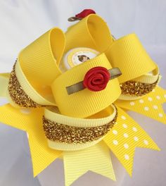 Belle Fairy Tale Princess Hair Bow Beauty and The Beast Bottle Caps Girls Cute | eBay SIDE VIEW