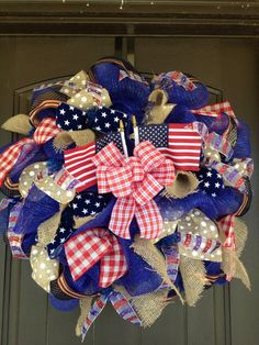 4th of July Flags & Burlap