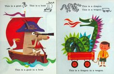 Golden Gems: A Dragon in a Wagon and other strange sights - vintage illustrations