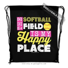 Golly Girls: The Softball Field Is My Happy Place Drawstring Backpack only at gollygirls.com