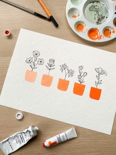 Art Discover orange ombre pot plants floral watercolour painting Aquarell My World Posca Art Orange Ombre Orange Orange Arte Sketchbook Art Mural Floral Watercolor Simple Watercolor Watercolor Paper Potted Plants Painting Inspiration, Art Inspo, Arte Sketchbook, Guache, Floral Watercolor, Simple Watercolor, Watercolor Paper, Diy Art, Painting & Drawing