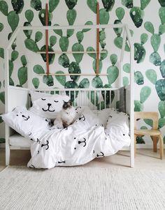Cacti Wall <3 kids baby room modern minimal black and white