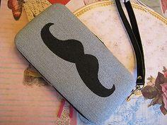 New NWT Mossimo Denim & Black Mustache Phone Case / Tech Wallet / Wristlet