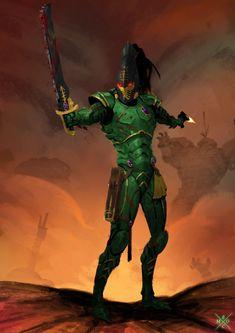 Warhammer sketches and practice, Erlend Capodanno Eldar 40k, Warhammer Eldar, Dark Eldar, Warhammer Fantasy, Fantasy Warrior, Sci Fi Fantasy, Green Knight, Medieval, Warhammer 40k Miniatures