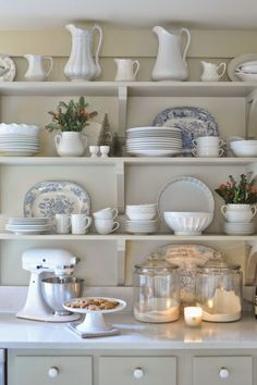 Open shelves. White and Blue