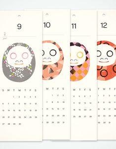 An Illustrated 2015 Daruma Calendar by Akiko da Silva