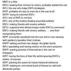 MBTI Types in a war