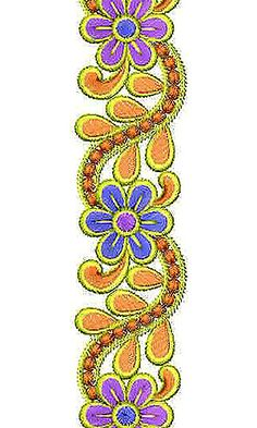 Flora Motif Small Border Brocade Lace Embroidery Design