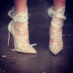 Still obsessing over these lace socks from our Spring 2015 bridal show on Friday! Christian Louboutin
