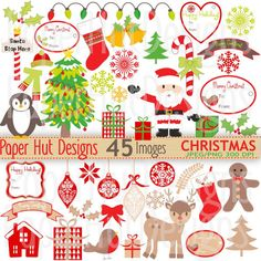 Christmas Clipart-Christmas Clip Art-Santa by PaperHutDesigns
