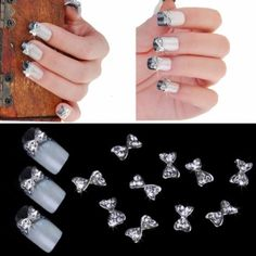 New Fashion 10pcs Silver Bowknot Alloy Rhinestones Nail Art Glitters Slices DIY Decoration