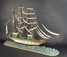 Antique Ship Model, Set on Carved Sea, 19th Century, angle view
