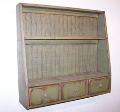 Primitive Plate Rack with 3 Drawers and Beadboard Back - Color Choice - FREE SHIPPING | Primitive kitchen | Pinterest & Primitive Plate Rack with 3 Drawers and Beadboard Back - Color ...