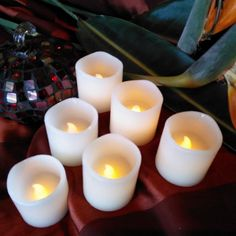 Flameless LED Candles ~ Set of Six Real Wax Votives, Ivory Color, Flickering Unscented Candle Sets For Parties, Weddings or Romance. Safe Around Children and Pets. Battery operated Pillar Style with Pre-Installed Candles For Sale, Best Candles, Votive Candle Holders, Candle Set, Thing 1, Aromatherapy Candles, Flameless Candles, Just Because Gifts