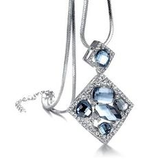 It is a good choice if want to make your clothes more attractive.Please see the item description so that you could know the length,and it is long because of the sweater chain design.Double Squares means the love will be continued forever.Blue crystals are polished and will be a wonderful point in the groups.Extended chain will give you more choices.