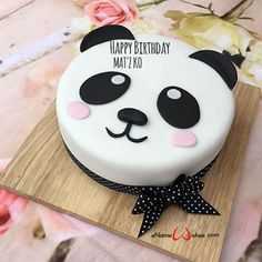 write name on pictures with eNameWishes by stylizing their names and captions by generating text on Panda Birthday Cake with Name with ease. Panda Birthday Cake, Birthday Cake Write Name, 9th Birthday Cake, Birthday Cake Writing, Animal Birthday Cakes, Birthday Wishes Cake, Birthday Cakes For Teens, Cake Name, Happy Birthday Cakes