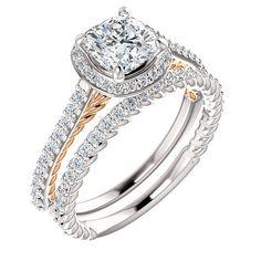 Cushion  Moissanite Halo Diamond Engagement Ring Set in 14k