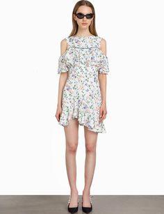 Pixie market | White floral asymmetric cold shoulder dress