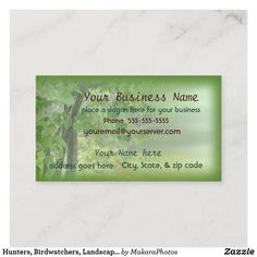 Hunters, Birdwatchers, Landscapers business card2 Business Card | Zazzle.com | 1000 - Modern | 1000 Lawn Care Business Cards, Business Names, Start Writing, Company Names, Hunters, Hand Sanitizer, Creative Business, Slogan, Keep It Cleaner