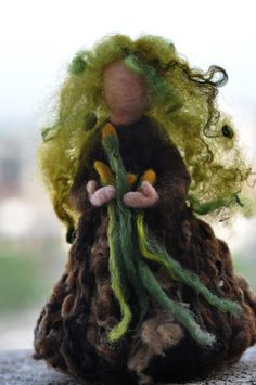 Needle felted Waldorf  Forward Spring Maiden- standing doll-soft sculpture--needle felt by Daria LvovskyMade to custom order. $43.00, via Etsy.