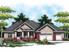 1694 sq ft Eplans House Plan: This ranch home features a large porch flanked with massive columns large enough for enjoying a cool summer evening with your family and friends. Upon entering the foyer, you Rambler House Plans, Ranch House Plans, New House Plans, Small House Plans, House Floor Plans, Craftsman Ranch, Craftsman Style Homes, Craftsman House Plans, Architectural Design House Plans