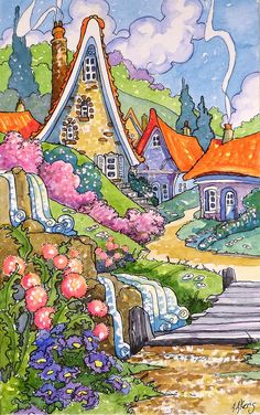 "Daily Paintworks - ""Springtime in the Village"" - Original Fine Art for Sale - © Alida Akers Cute Illustration, Watercolor Illustration, Watercolor Art, Cute Cottage, Cottage Art, Storybook Cottage, Whimsical Art, Fine Art Gallery, Illustrators"