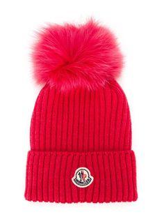 moncler  kids  beanie  fur  red  pompom  hats  new d4dbb3800bb7