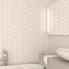 Banheiro com revestimento branco e rejunte verde. Linha Chez Moi | Cerâmica Portobello