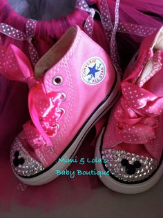 Mickey Mouse / Minnie Mouse High Top Trendy Bling Converse