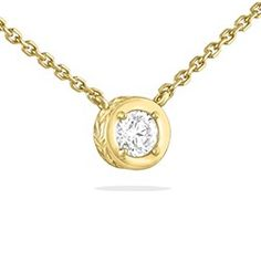 Yellow Gold Maile Scroll Necklace with Diamond