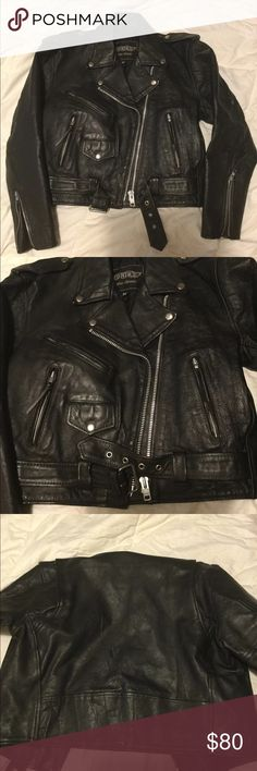 UNIK Leather riding jacket m UNIK Leather Apparels riding jacket Heavy leather Black Full zip front Zippered sleeves  Women's medium Jackets & Coats