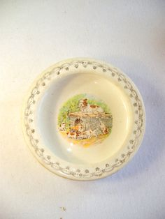 ceramic baby feeding dish with boxer dogs